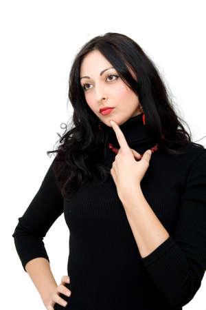 beautiful businesswoman posing, studio isolated on white photo