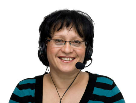woman with headset and glasses isolated Stock Photo - 2833733