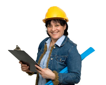 female engineer studio isolated photo