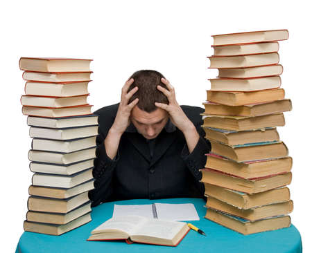 law suit: hard working man with books isolated Stock Photo