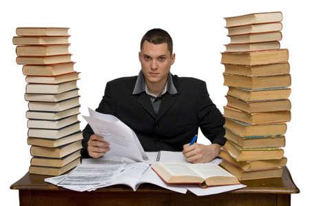 trabajando duro: hombre de trabajo duro estudio aislado