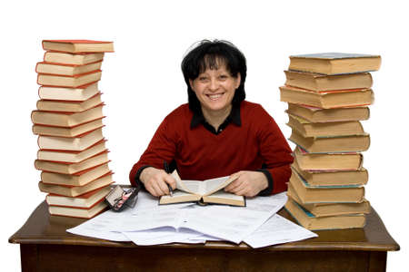 woman at work with books isolated photo