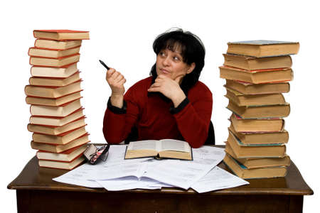 hard working woman in a library isolated Stock Photo - 2836237