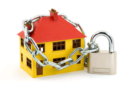 locked: home security concept studio isolated Stock Photo