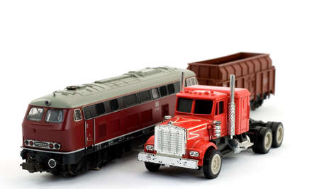 train and truck toys studio isolated Stock Photo