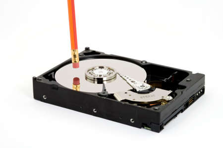 pencil deleting hard disk drive photo