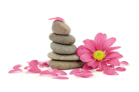 therapeutic zen  spa stones with flowers isolated