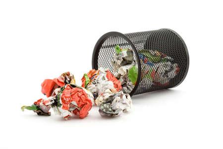 bin full of paper trash studio isolated photo