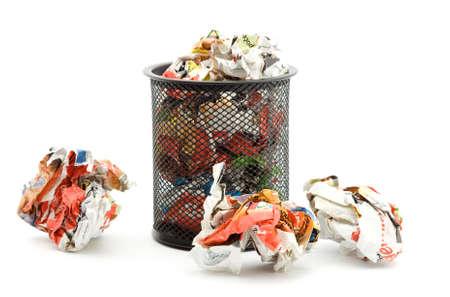dispose: bin full of paper trash studio isolated
