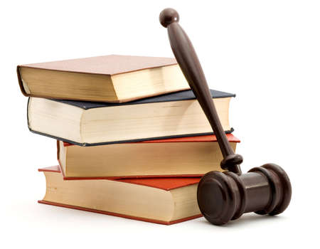 books and gavel studio isolated over white