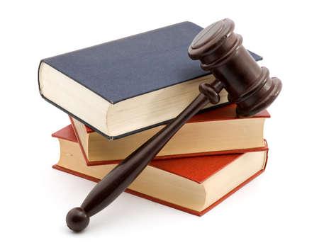court order: libros y martillo estudio aislado m�s de blanco  Foto de archivo