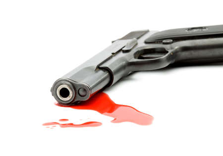 murder concept - gun and blood studio isolated Stock Photo - 3675970