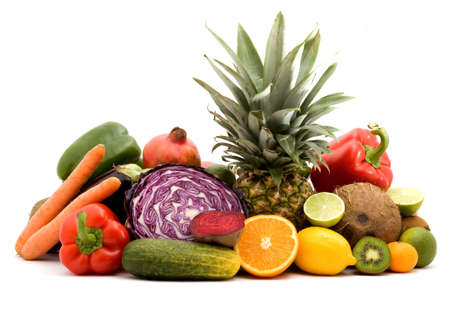 fruit and vegetables on a pile studio isolated Stock Photo - 3711762