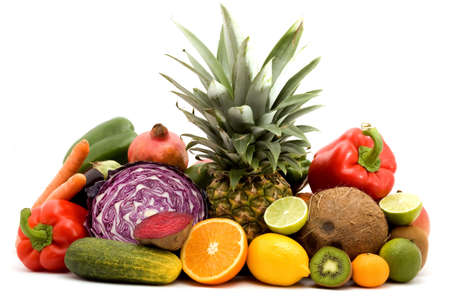 fruit and vegetables on a pile studio isolated Stock Photo - 3711786