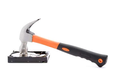 hammer destroying hard disk studio isolated photo