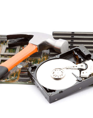 hammer destroying or repairing computer studio isolated photo