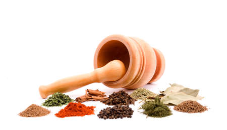 mortar and herb spices studio isolated photo