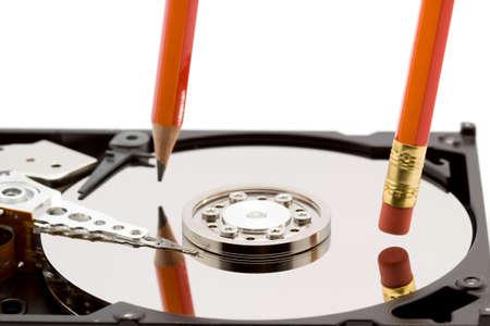 open hard disk drive studio isolated photo