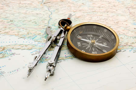 boat navigation - compass and marine map studio isolated Stock Photo - 4065478
