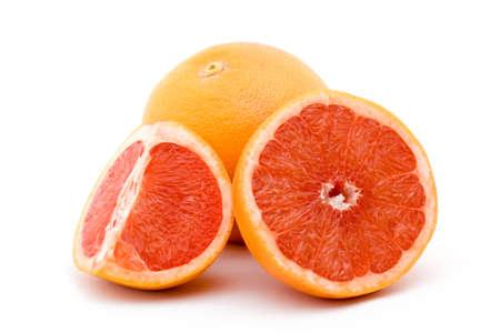 sliced  �  �  �  �: red orange fruit studio isolated over white