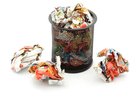 bin full of paper trash studio isolated Stock Photo - 4308028