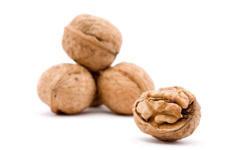 dry walnut fruit studio isolated closeup