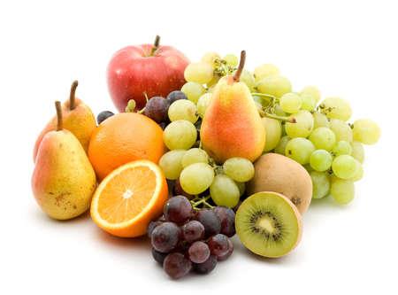 mixed fruit studio isolated over white photo