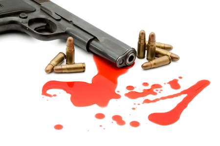 kill: murder concept - gun and blood studio isolated Stock Photo