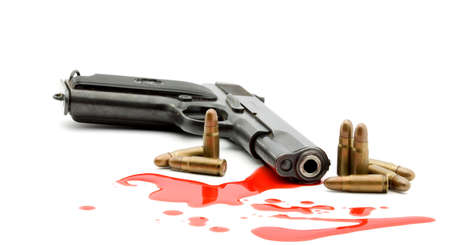 murder concept - gun and blood studio isolated Stock Photo