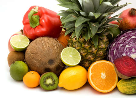 fruit and vegetables on a pile studio isolated Stock Photo - 4308091