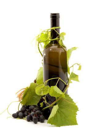 bottle of wine studio isolated