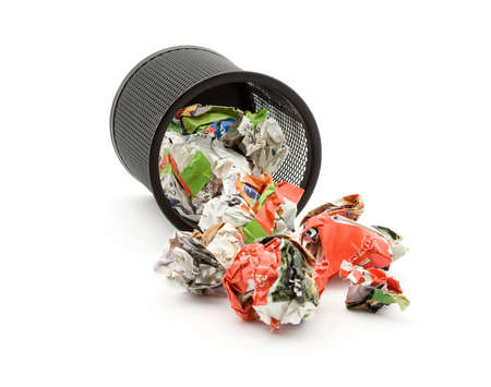 bin full of paper trash studio isolated Stock Photo - 4308065
