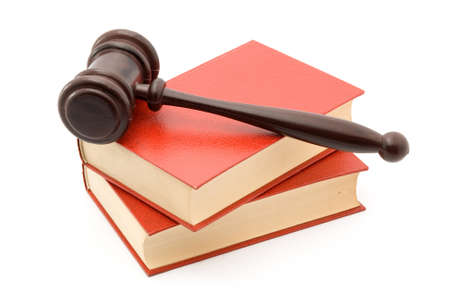 legislation: books and gavel studio isolated over white