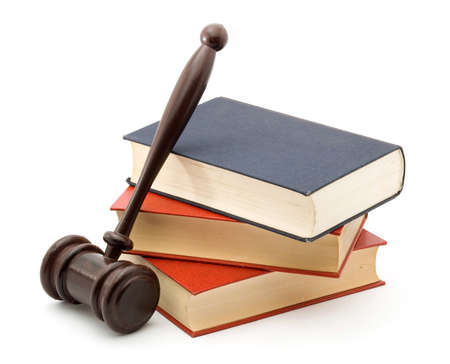 books and gavel studio isolated over white photo