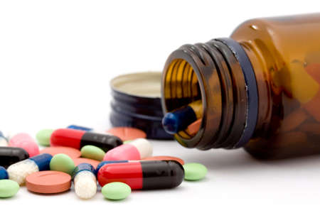 vitamins: pills studio isolated over white Stock Photo