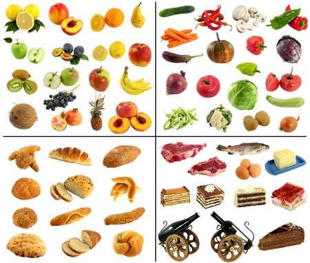 fruit and vegetable studio isolated over white photo