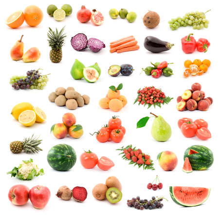 vegetables: fruits and vegetables studio isolated