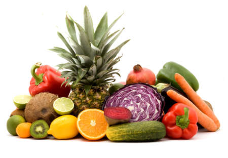 fruit and vegetables on a pile studio isolated
