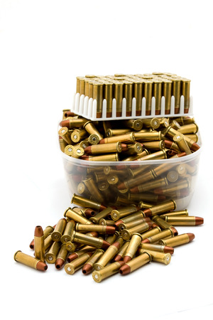 38 caliber: Bullet shells isolated in white