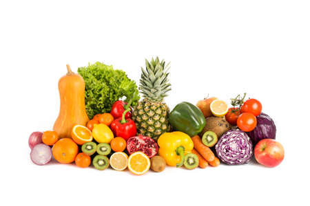 orange fruit: fruits and vegetables pile Stock Photo