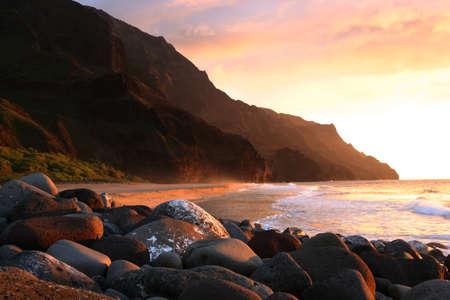 Sutset at Kalalau Beach , Pali Coast