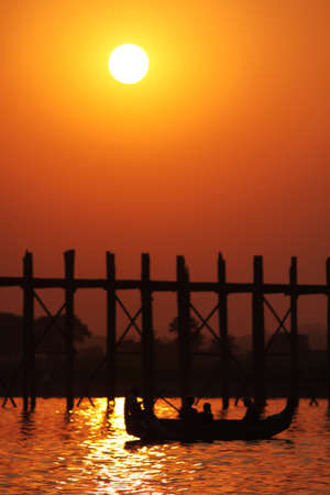 Sunset at U Bein Bridge , Mandalay Myanmar