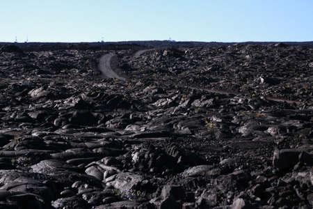 solidified: Lava landscape with black, solidified lava on Mauna Loa, Hawaii Stock Photo