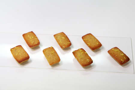 teacake: French pastry teacake, the Financier isolated on white background