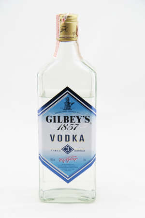 liter: Bangkok, Thailand - February 29, 2016: Close-up shot of a one   liter bottle of Gilbeys Vodka. Gilbeys Vodka is a brand of   vodka, produced in England.