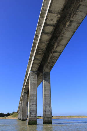 the mainland: Bridge of Noirmoutier between mainland and a small island in Vendee in France Look up