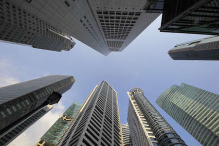 straight up: Skyscrapers in Singapore. Highrise buildings ,City view with wide angle lens, looking straight up.