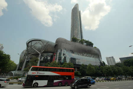 ion: SINGAPORE - September 22, 2014 :Day view of ION Orchard shopping mall and residences in the heart of Orchard Road Singapore with wide angle lens Editorial