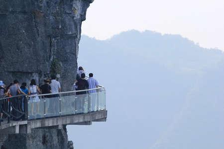 A Perfect Instrument to Terrify People ,Glass Bridge sky walk at   Tianmenshan Tianmen Mountain China Reklamní fotografie