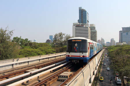 silom: Bangkok, Thailand : March 14, 2016 : The Bangkok Mass Transit System BTS or Skytrain runs through the city center Ratchadamri Station, Silom line (in bound)